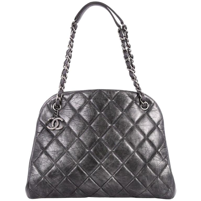 Chanel Just Mademoiselle Handbag Quilted Aged Calfskin Large
