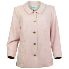 Chanel Pink & White Jacket with Goldtone CC Buttons