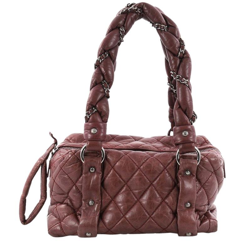 3366d23f6738 Chanel Lady Braid Bowler Bag Quilted Distressed Lambskin Small For Sale
