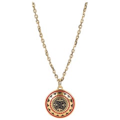 1970s Chanel Enamel Gold Pendant Necklace