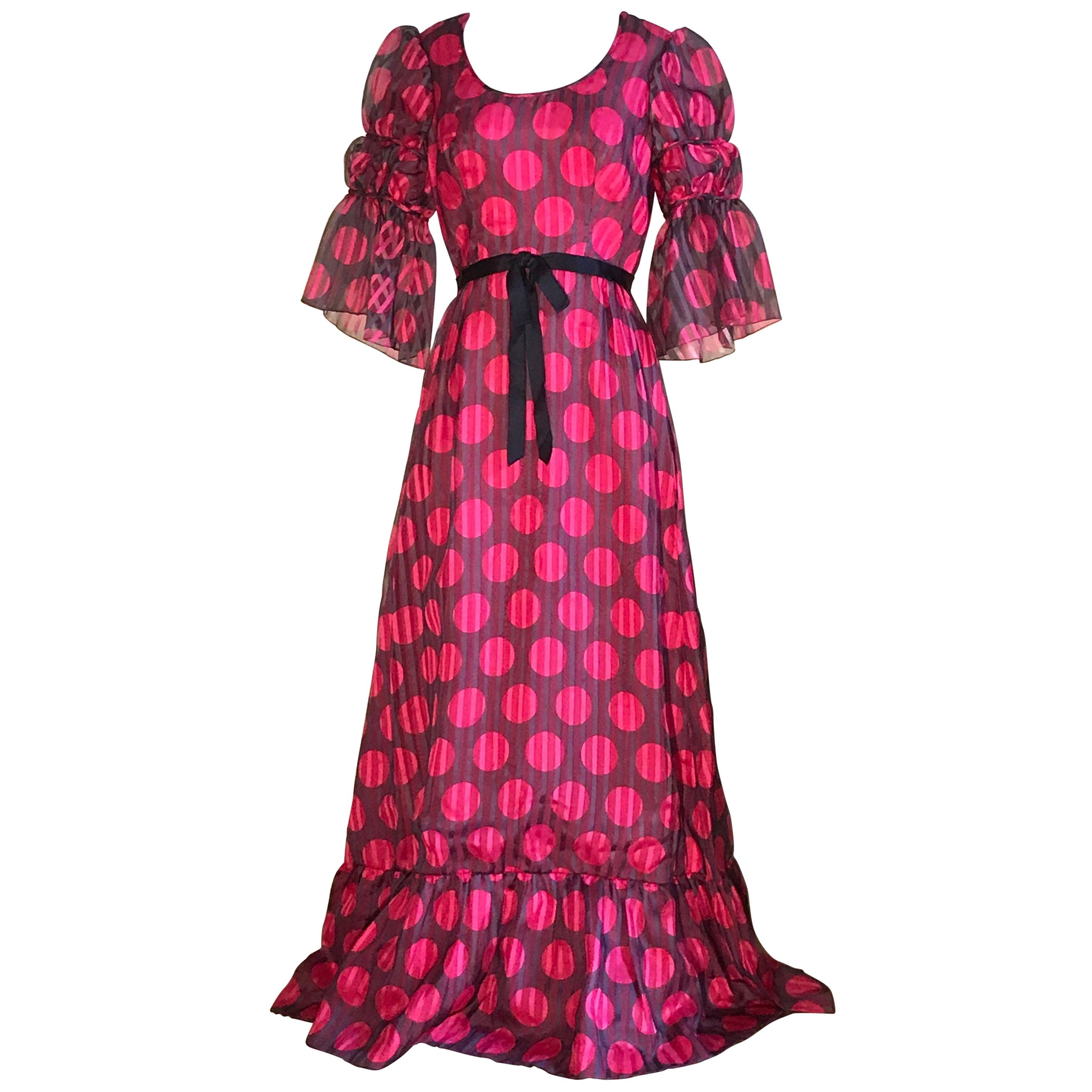 Sarmi 1960s Pink and Brown Polkadot Stripe Dress with Puffed Sleeve Detail