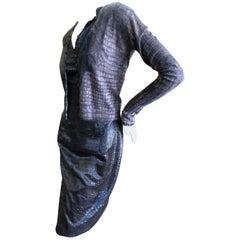 John Galliano Alligator Print Jacquard Dress and Matched Cashmere Sweater, 1990s