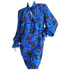 Yves Saint Laurent Rive Gauche 70's Silk Poet Sleeve Dress with Keyhole and Bow
