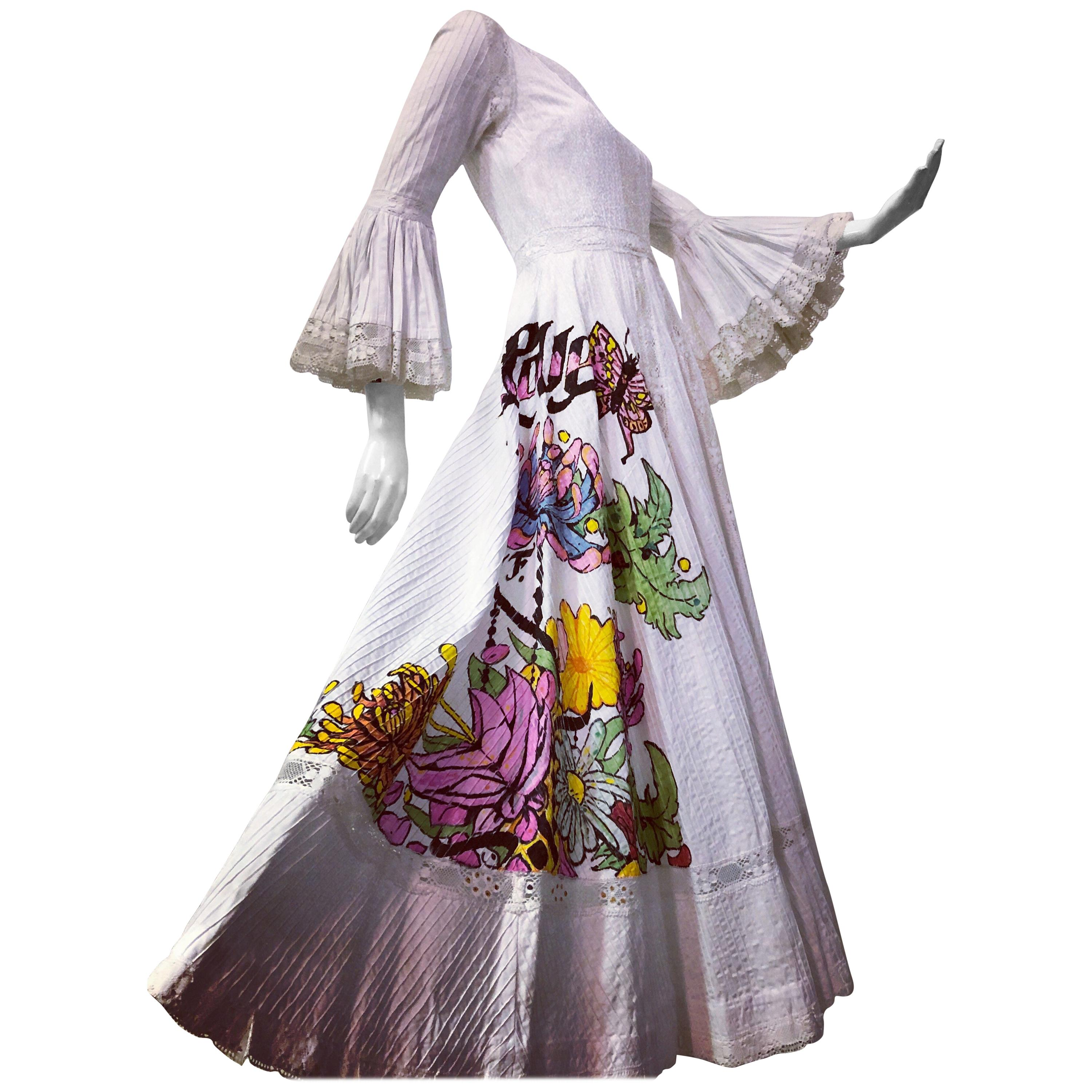 """Mexican Cotton """"Summer Of Love"""" Maxi Dress With Hand Painted Flowers, 1970s"""