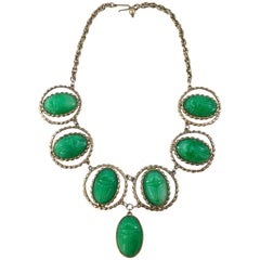 Egyptian Revival Large Green Scarab Necklace