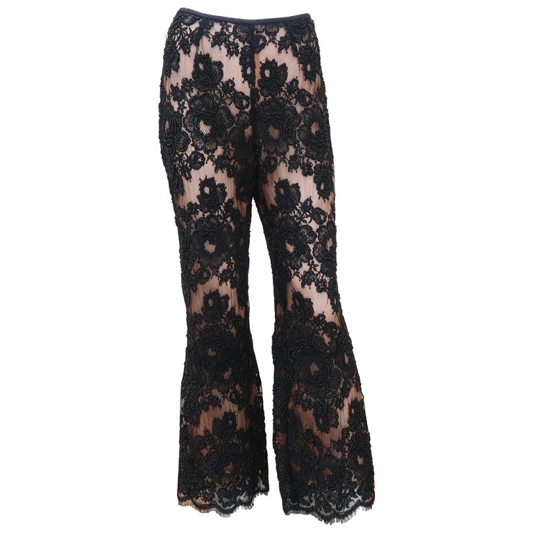 Vintage Beaded Black Lace Nude Illusion Bell Bottom Pants For Sale