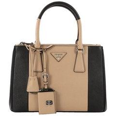 Prada Bicolor Double Zip Lux Tote Saffiano Leather Small