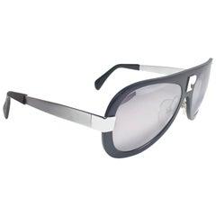 New Vintage Pierre Cardin Blue Aluminium Mirror Lens 1970's Sunglasses