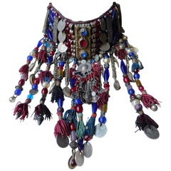 Ethnic Choker necklace made with Vintage Turkish Coins, Tassels and Elements
