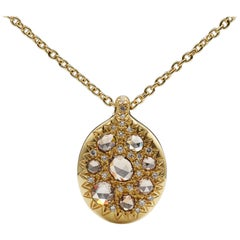 Christopher Phelan Brown Rose Cut Pave Diamond 18K Gold Necklace