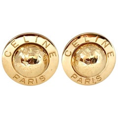 Celine 1990s Gold Plated Globe Clip on Oversized Statement Earrings - 1992