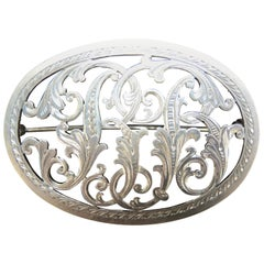 Antique Hand Cut Silver Cursive Monogram Pin Brooch