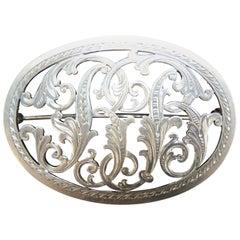 Antique Hand Cut Silver Cursive Monogram Pin Brooch