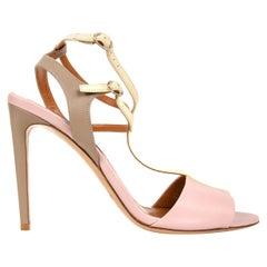 Ralph Lauren Shoe Tri Color High Heel T Strap Sandal Ankle Detail 39.5 / 9.5