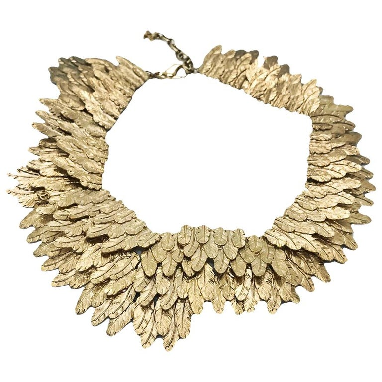 Chanel Gold tone Feather Collar Choker Necklace, 2008   For Sale