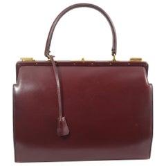 Hermes Vintage Burgundy Box Leather Doctor Bag