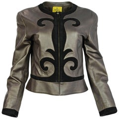 Fendi Vintage Brown Leather & Black Suede Jacket Sz IT42