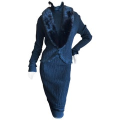 John Galliano Black Fringed Dress with Matching Wide Mink Collar Sweater, 1990s