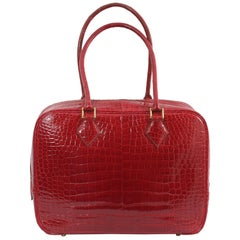 1998 Hermes Plume in Red Porosus Crocodile Leather. Excellent Condition