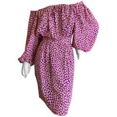 Yves Saint Laurent Rive Gauche 1970's Silk Off the Shoulder Poet Sleeve Dress