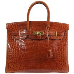 1996 Hermes Birkin 35 in Brown Alligator Crocodile. Really Good Condition