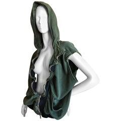 Haider Ackerman Ruffled Zip Front Hooded Sleeveless Jacket or Vest