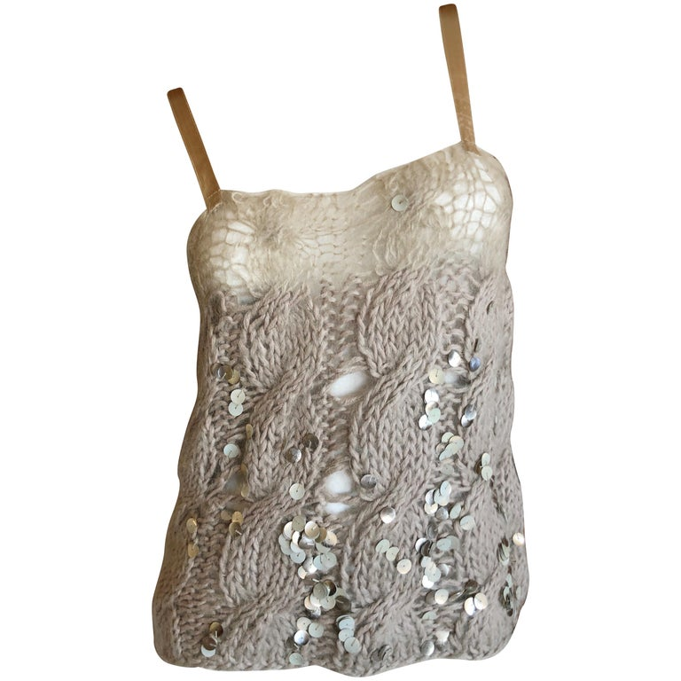 Josephus Thimester Loose Knit Cable Knit Camisole with Sequins For Sale