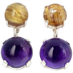 Golden Rutilated Quartz and Amethyst Sterling Silver Earrings
