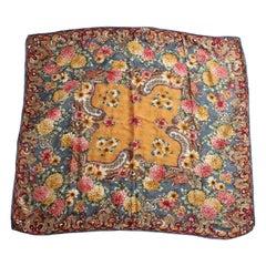 Rare Guy Laroche Shawl Scarf Silk Jacquard Twill Bold Florals 42in Vintage