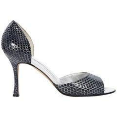 Black & Silver Manolo Blahnik Snakeskin Sandals
