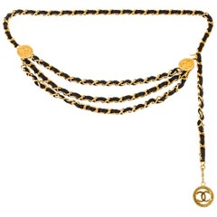 1980s Chanel Triple Strand Leather Chain Belt