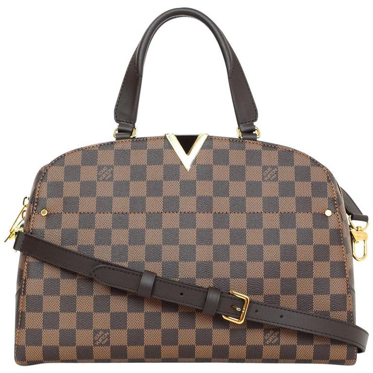 Louis Vuitton Damier Ebene Kensington Bowling Satchel Bag with Box &Dust Bag