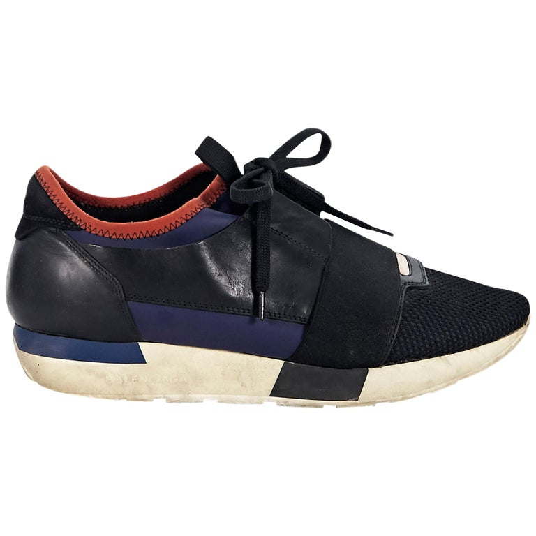 Navy Blue and Black Balenciaga Low-Top Sneakers For Sale at 1stdibs 8dd771d9f585