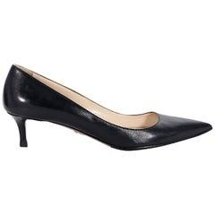 Prada Black Leather Kitten Heel Pumps