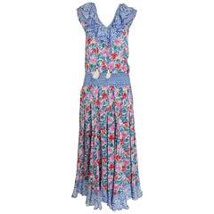 Diane Fres smocked waist mixed print floral midi dress 1980s