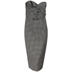 Black& White Veronica Beard Gingham Birdie Bow Dress