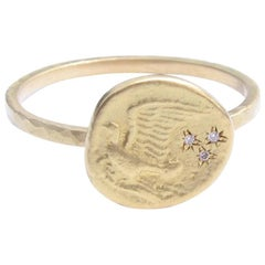 Dove Flying In Stars 18 Karat Gold and Diamond Ring