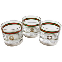 Rare Gucci Cocktail Glasses Barware Set of 3 with Silver Base Vintage 70s