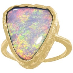 One of a Kind Red Flash Natural Boulder Opal Gold Handmade Ring