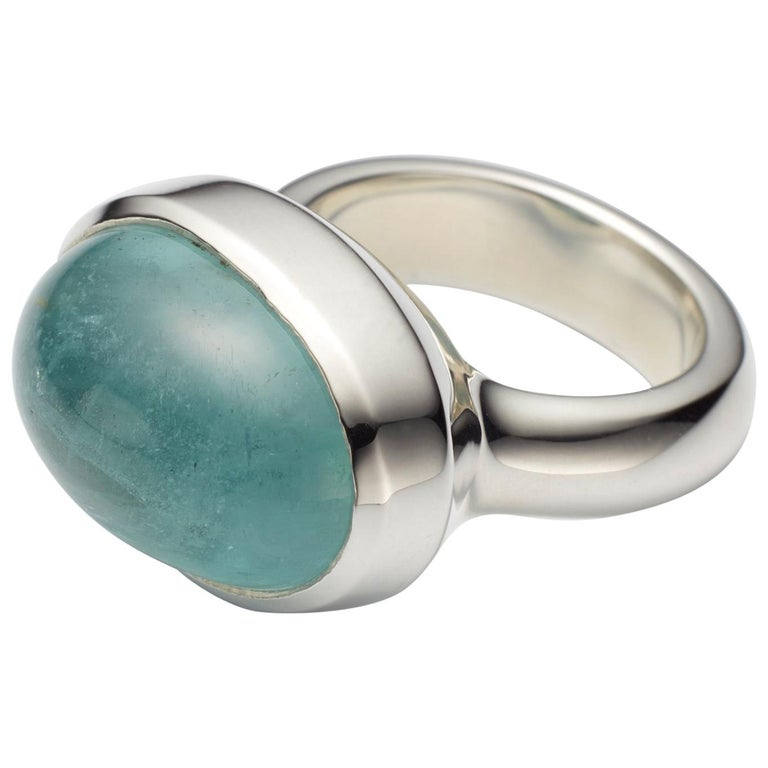 Aquamarine Cabochon Sterling Silver Ring For Sale