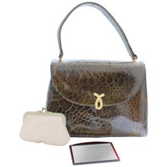 Bellestone Top Handle Alligator Bag with Mirror and Coin Purse, 1950s