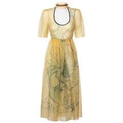 2008 Prada Fairy Runway Yellow Silk Dress