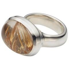 Golden Brazilian Rutilated Quartz Cabochon Sterling Silver Ring