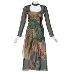 Prada James Jean Fairy Runway Black Printed Silk Dress, 2008