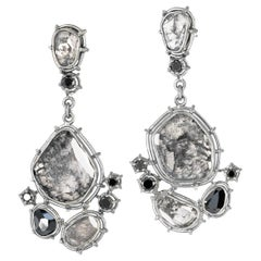 One of a Kind Grey and Black Diamond Palladium Gold Drop Earrings