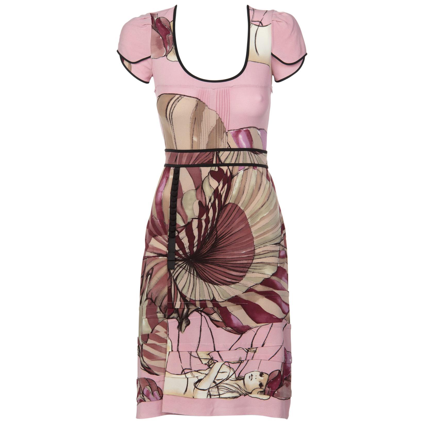 2008 Prada James Jean Fairy Collection Pink Print Silk Dress