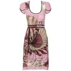 2008 Prada James Jean Fairy Collection Pink Print Silk Dress
