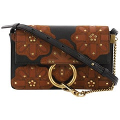 Chloe Faye Patchwork Shoulder Bag Studded Leather with Suede Small