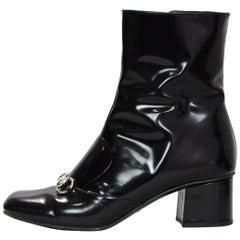 Gucci Black Polished Leather Regent Horsebit Ankle Boots Sz 40