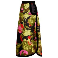 1970s Dynasty Vintage Quilted Silk + Velvet Maxi Skirt in Green Black Pink + Red
